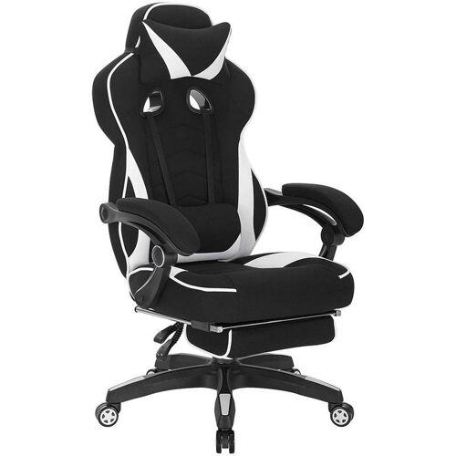 Woltu - Gaming Stuhl aus Stoff mit Lendenkissen Hani weiß