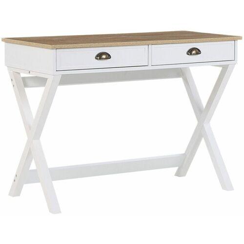 Beliani - Schreibtisch Weiß/Heller Holzfarbton Kiefernholzbeine 103 x