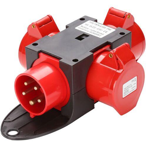 HENGDA Adapter Stromverteiler 3 x CEE 400V/16A 5 Polig CEE-Steckdose IP44