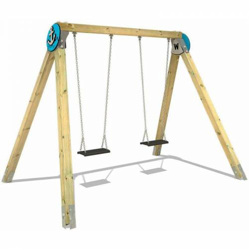 WICKEY Holz-Schaukel PRO MAGIC Atol für den öffentlichen Kinder-Spielplatz