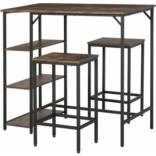 HOMCOM ® Bartisch-Set Stehtisch mit 2 Barhockern 3-tlg. Tischset mit Regale
