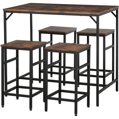 HOMCOM ® Bartisch-Set Stehtisch mit 4 Barhockern 5-teiliges Tischset Stahl