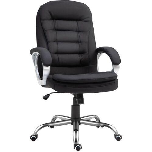 HOMCOM ® Chefsessel Bürostuhl Polsterung Leinen Schwarz - schwarz - Homcom