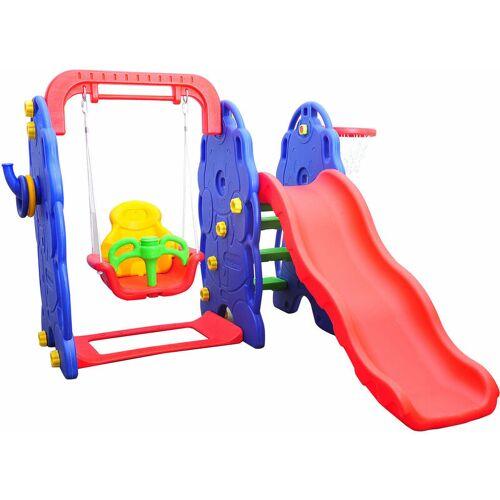 HOMCOM ® Kinderrutsche Gartenrutsche Elefantenrutsche mit Schaukel - bunt
