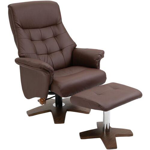 HOMCOM ® Relaxsessel Hocker drehbar PU 90 x 76 x 103 cm Braun - braun - Homcom