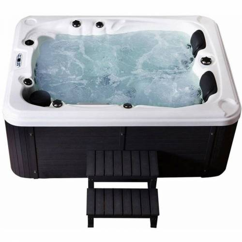HOME DELUXE Outdoor Whirlpool Beach plus Treppe und Thermoabdeckung   Jacuzzi,
