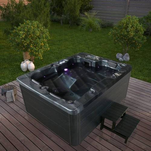 HOME DELUXE Outdoor Whirlpool Black Marble plus Treppe und Thermoabdeckung