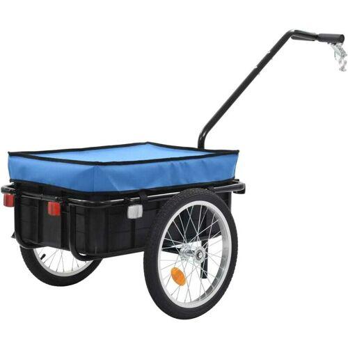 Hommoo Fahrradanhänger/Handwagen 155 x 61 x 83 cm Stahl Blau VD32732