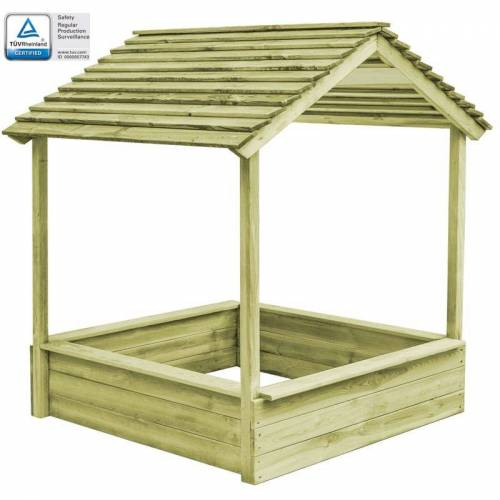 HOMMOO Garten-Spielhaus mit Sandkasten 128x120x145 cm Kiefernholz VD29087