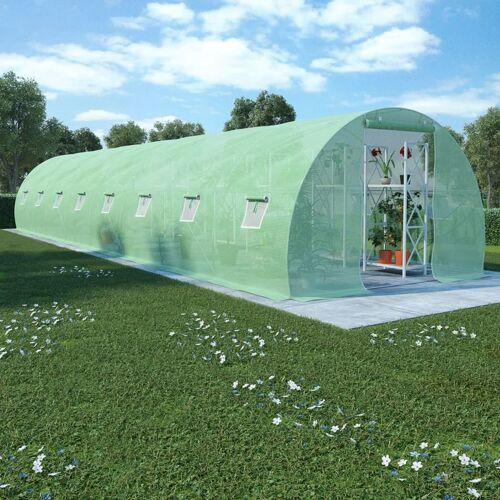 HOMMOO Gewächshaus mit Stahlfundament 36 m2 1200 x 300 x 200 cm VD29668