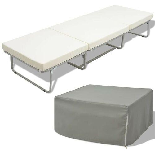 HOMMOO Klappbett mit Matratze Weiß Stahl 70x200 cm VD09997 - Hommoo