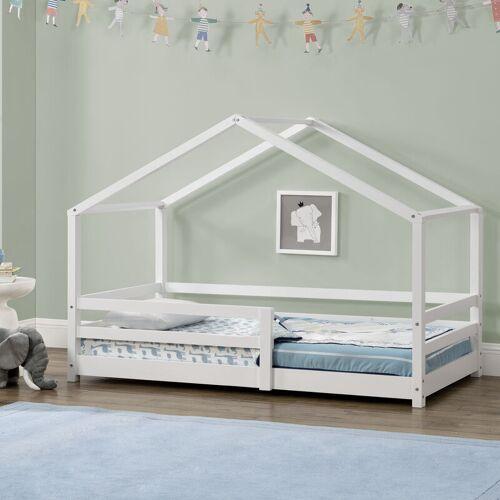 [EN.CASA] Kinderbett Knätten 90x200 cm mit Rausfallschutz Weiß