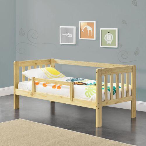 [EN.CASA] Kinderbett Selfoss 90x200 cm mit Schutzgitter Natur