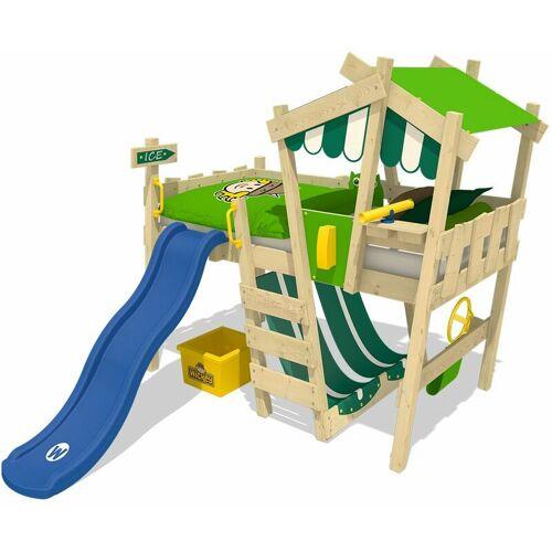 WICKEY Kinderbett Hochbett CrAzY Hutty mit blauer Rutsche Hausbett 90 x 200