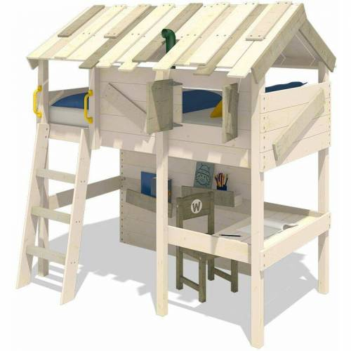 WICKEY Kinderbett Hochbett CrAzY Island – Hausbett 90 x 200 cm,