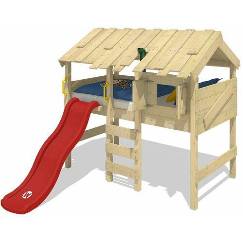 WICKEY Kinderbett Hochbett CrAzY Lagoon mit Rutsche Hausbett 90 x 200 cm,