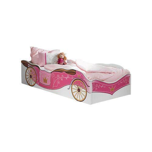 KINDERMOEBEL-24SHOP Kinderbett Zoe mit Kutschenmotiv 90*200 cm weiß - pink Jugendbett