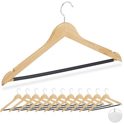 RELAXDAYS Kleiderbügel, Set, 12 Bügel, Holz, f. Hemden, Röcke, Hosen, gummierte