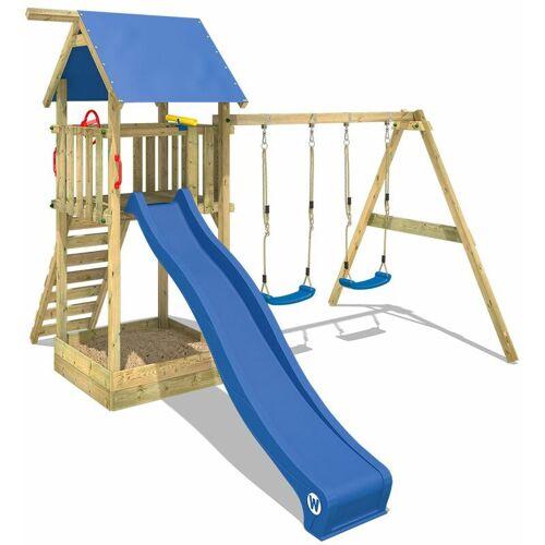 WICKEY Spielturm Klettergerüst Smart Empire mit Schaukel & blauer Rutsche,