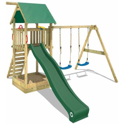 WICKEY Spielturm Klettergerüst Smart Empire mit Schaukel & grüner Rutsche,