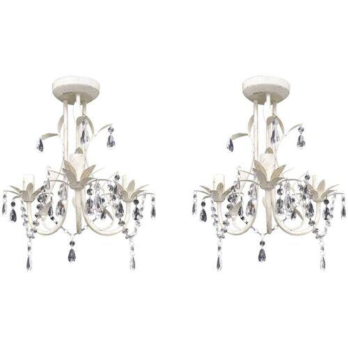 ZQYRLAR Kristall-Deckenleuchte Kronleuchter 2 Stk. Elegantes Weiß