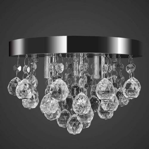 TOPDEAL Kronleuchter Deckenleuchte Kristall Design Lüster Chrom 08349