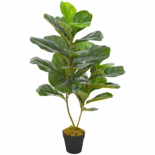 ZQYRLAR Künstliche Pflanze Geigen-Feige mit Topf Grün 90 cm