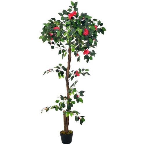 ZQYRLAR Künstliche Pflanze Kamelie mit Topf Grün 160 cm