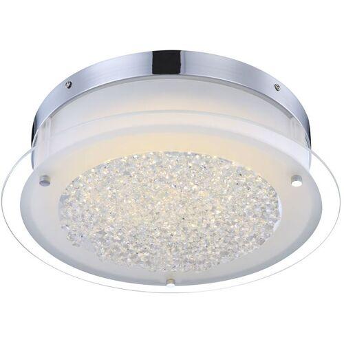 GLOBO LED Deckenleuchte, rund, Glas mit klaren Kristallen LEAH