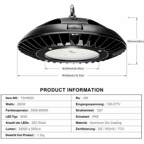 TONFFI LED Industrielampe Werkstattlampe Hallenstrahler UFO (200W, 3 Stück)
