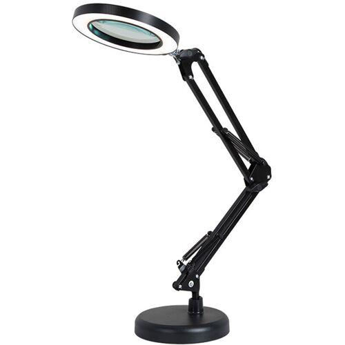 ASUPERMALL Lupe 8mal Tischlampe mit den Armen 64Leds Lange Bodenplatte, Schwarz