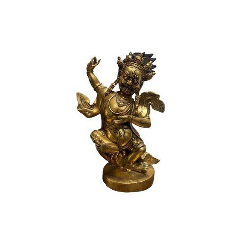 ASIENLIFESTYLE Mahakala Beschützer Figur (42cm) Bronze Statue