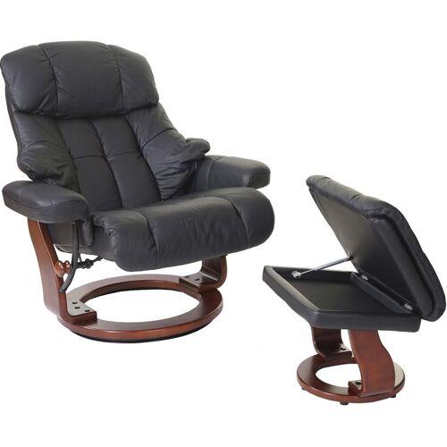 HHG - MCA Relaxsessel Windsor XXL, TV-Sessel Hocker, Echtleder 180kg