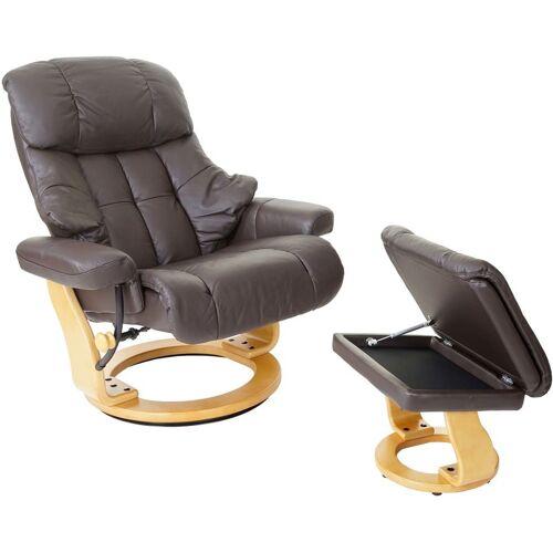 HHG MCA Relaxsessel Windsor XXL, TV-Sessel Hocker, Echtleder 180kg