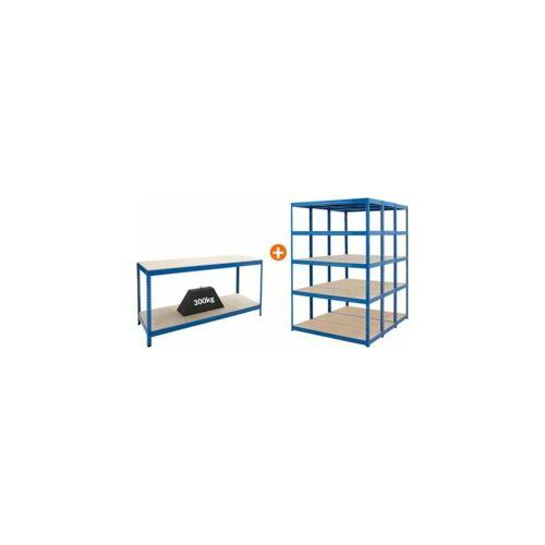 Certeo - Mega Deal   3x Schwerlastregal - Tiefe 45 cm und 1x Werkbank