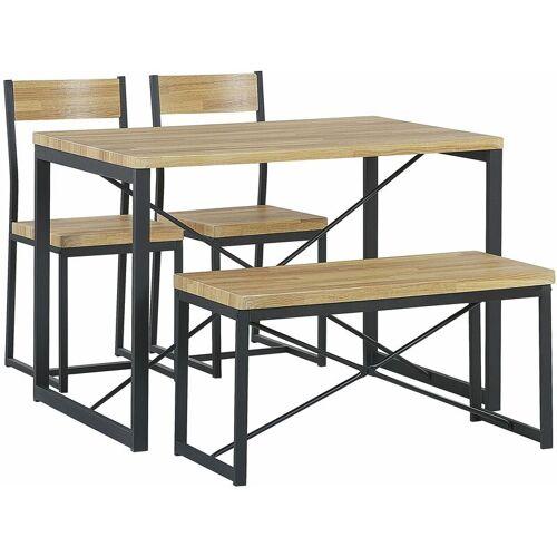 Beliani - Essgruppe Set Tisch 2 Stühle 1 Sitzbank Braun und Schwarz 110