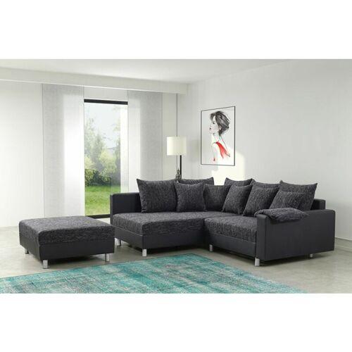 Küchen Preisbombe - Modernes Sofa Couch Ecksofa Eckcouch in schwarz