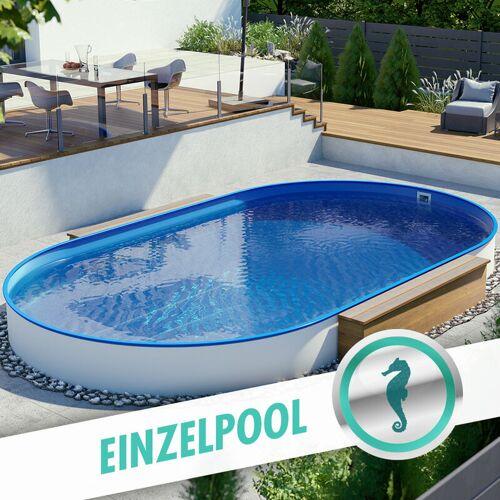 Pool Total - Ovalpool Stahlwandbecken 3,20 x 5,30 x 1,20 m, Folie blau