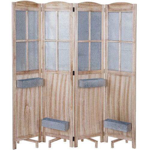 HHG Paravent HHG-646 Pflanzkörbe, Raumteiler Trennwand spanische Wand
