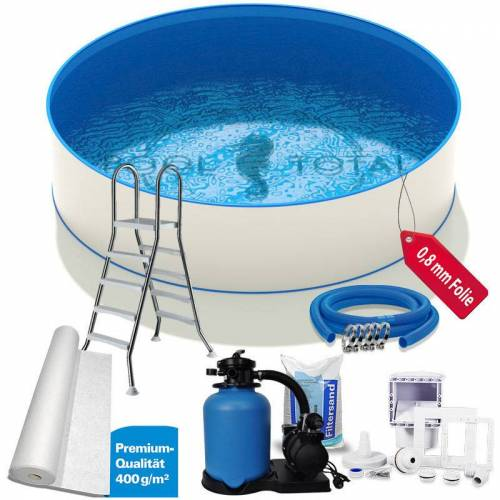 POOL TOTAL Pool-Set PREMIUM+ Ø 5,00 x 1,20m, 0,6mm Stahl, 0,8mm Folie mit