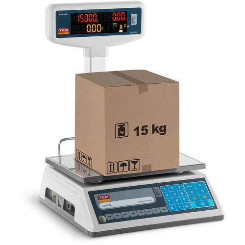 TEM - Preisrechenwaage Ladenwaage Marktwaage 6 kg/2 g 15 kg/5g