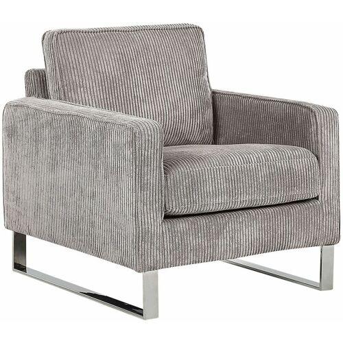 BELIANI Retro Sessel Cord Füße aus Edelstahl grau Vind - BELIANI