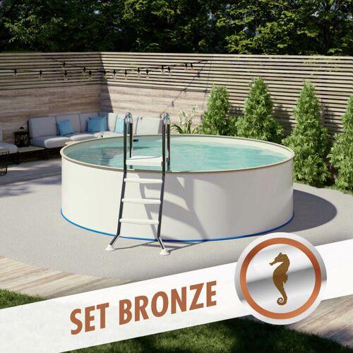 Pool Total - Rundpool-Set BRONZE Ø 3,50 x 0,90 m, Folie sand 0,80 mm,