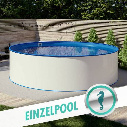 POOL TOTAL Rundpool Stahlwandbecken Ø 4,50 x 1,20 m, Folie blau 0,80 mm - POOL