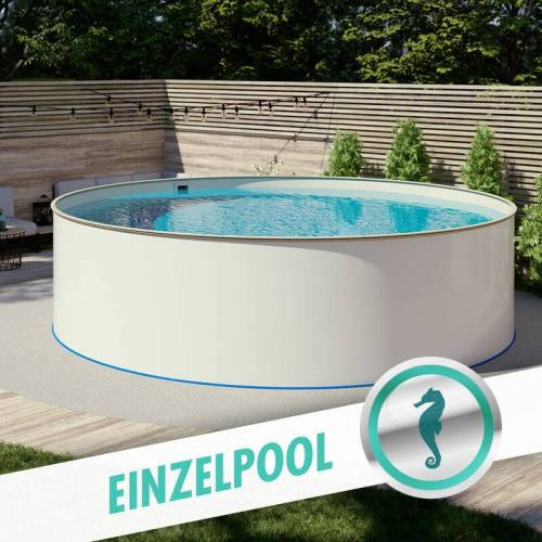 Pool Total - Rundpool Stahlwandbecken Ø 5,00 x 1,20 m, Folie sand 0,80