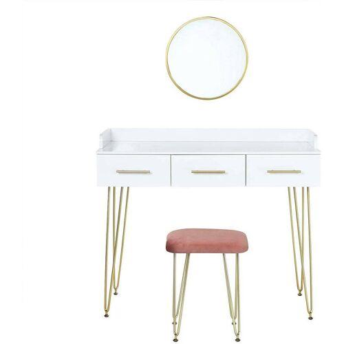 WOLTU Schminktisch mit Spiegel Sitzhocker mit 3 Schubladen weiß