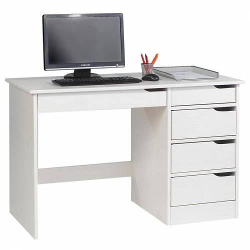 Idimex - Schreibtisch HUGO in Kiefer massiv wei