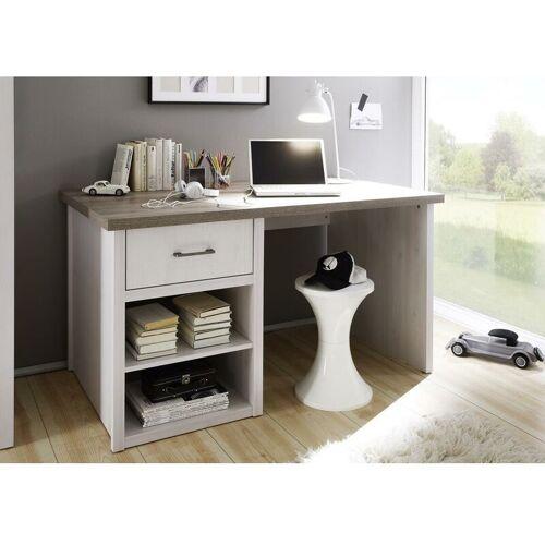 Lomadox - Schreibtisch im Landhausstil LUND-78 in Pinie weiß