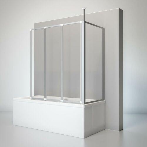 SCHULTE Duschwand Well mit Seitenwand, 129 x 140 x 75 cm, 3-teilig faltbar,