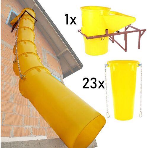 Topleiter - Schuttrutschen-Set gelb mit Trichter, Halterung und 24